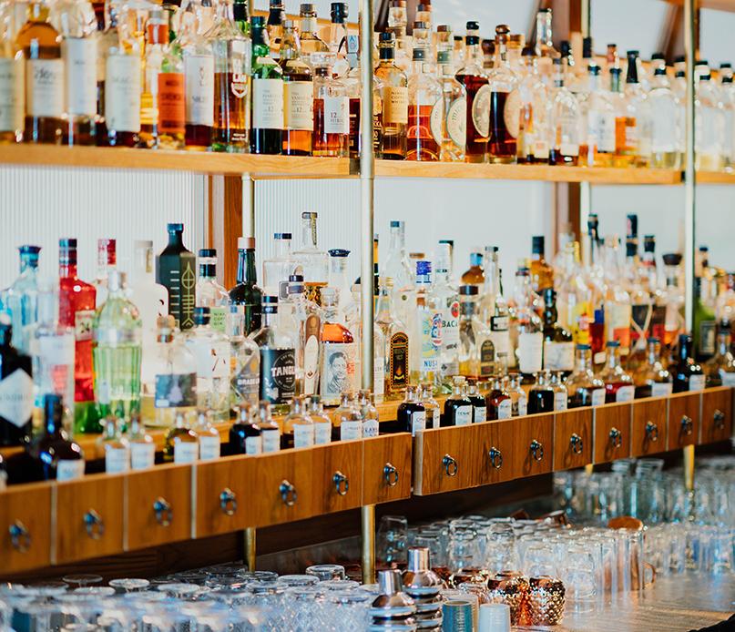 liquor at a bar