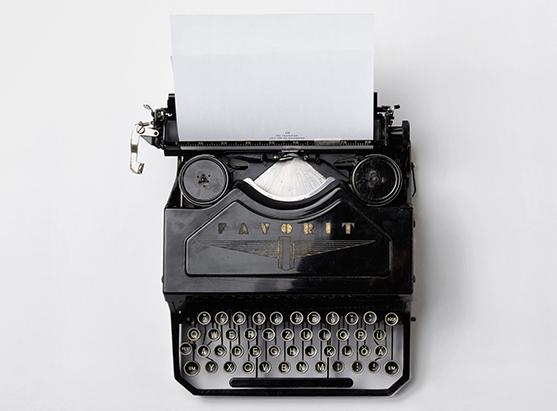 typewriter on white background